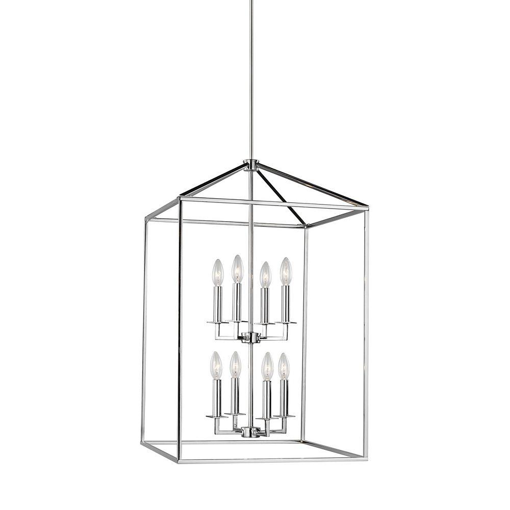 Sea Gull Lighting Perryton  Grand luminaire entrée/vestibule à 8 ampoules 60 W, chrome