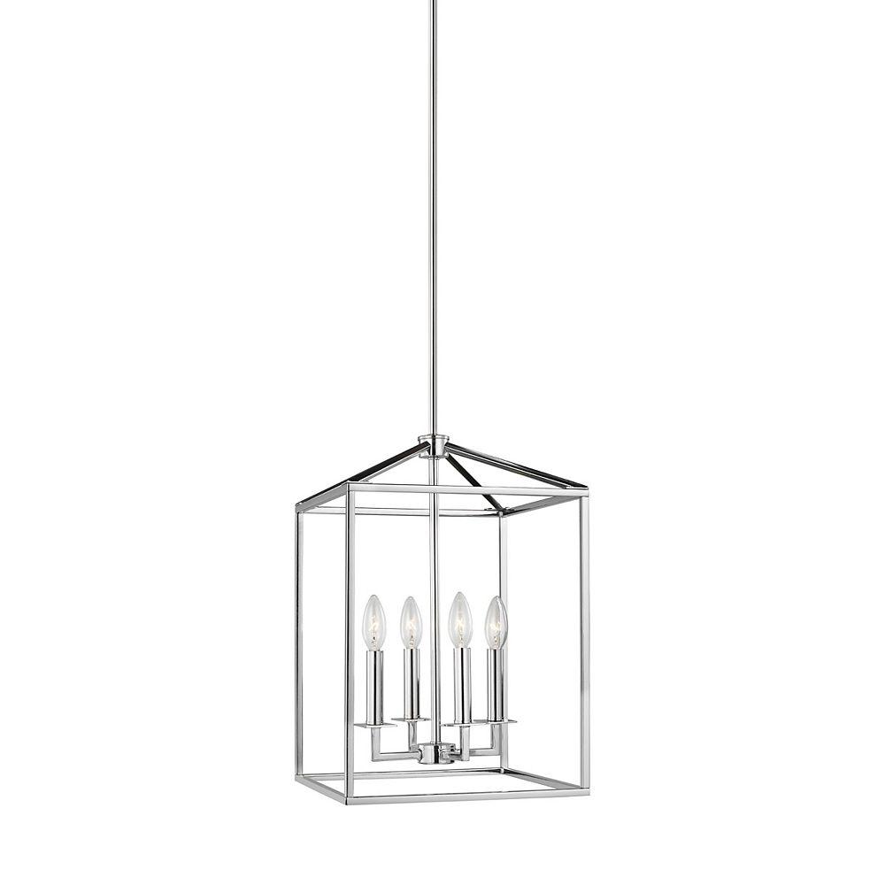 Sea Gull Lighting Perryton  Petit luminaire entrée/vestibule à 4 ampoules 60 W, chrome