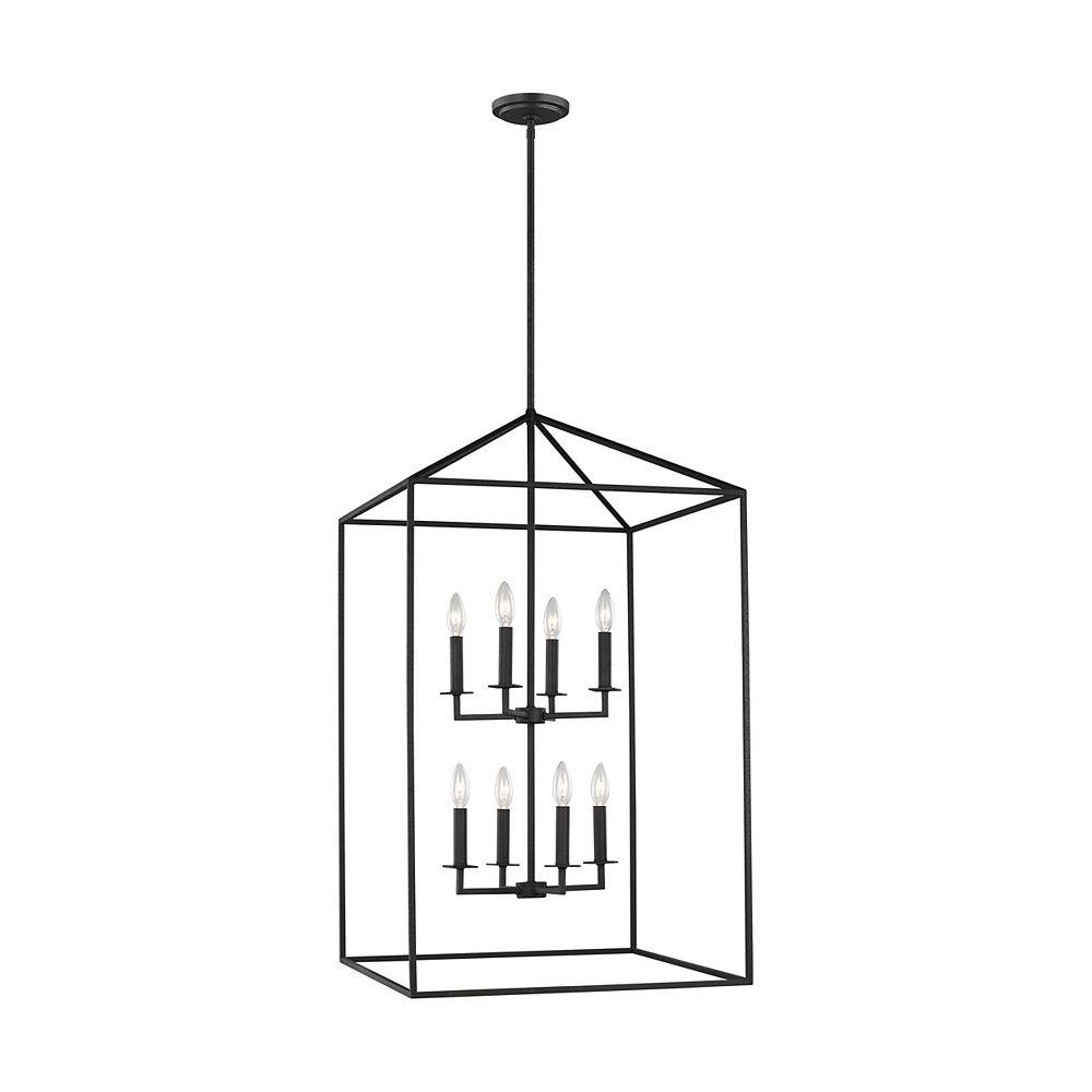 Sea Gull Lighting Perryton  Très grand luminaire entrée/vestibule à 8 ampoules 60 W, noir forge