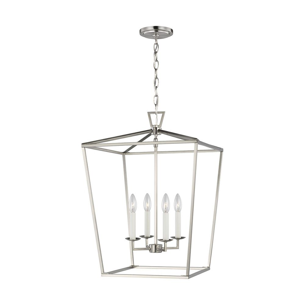 Sea Gull Lighting Dianna Lanterne moyenne à 4 ampoules 60 W, nickel brossé