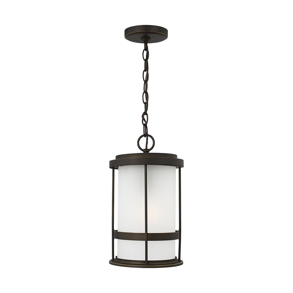 Sea Gull Lighting Wilburn 60w 1-Light Antique Bronze Outdoor Pendant Lantern with satin etched glass shade