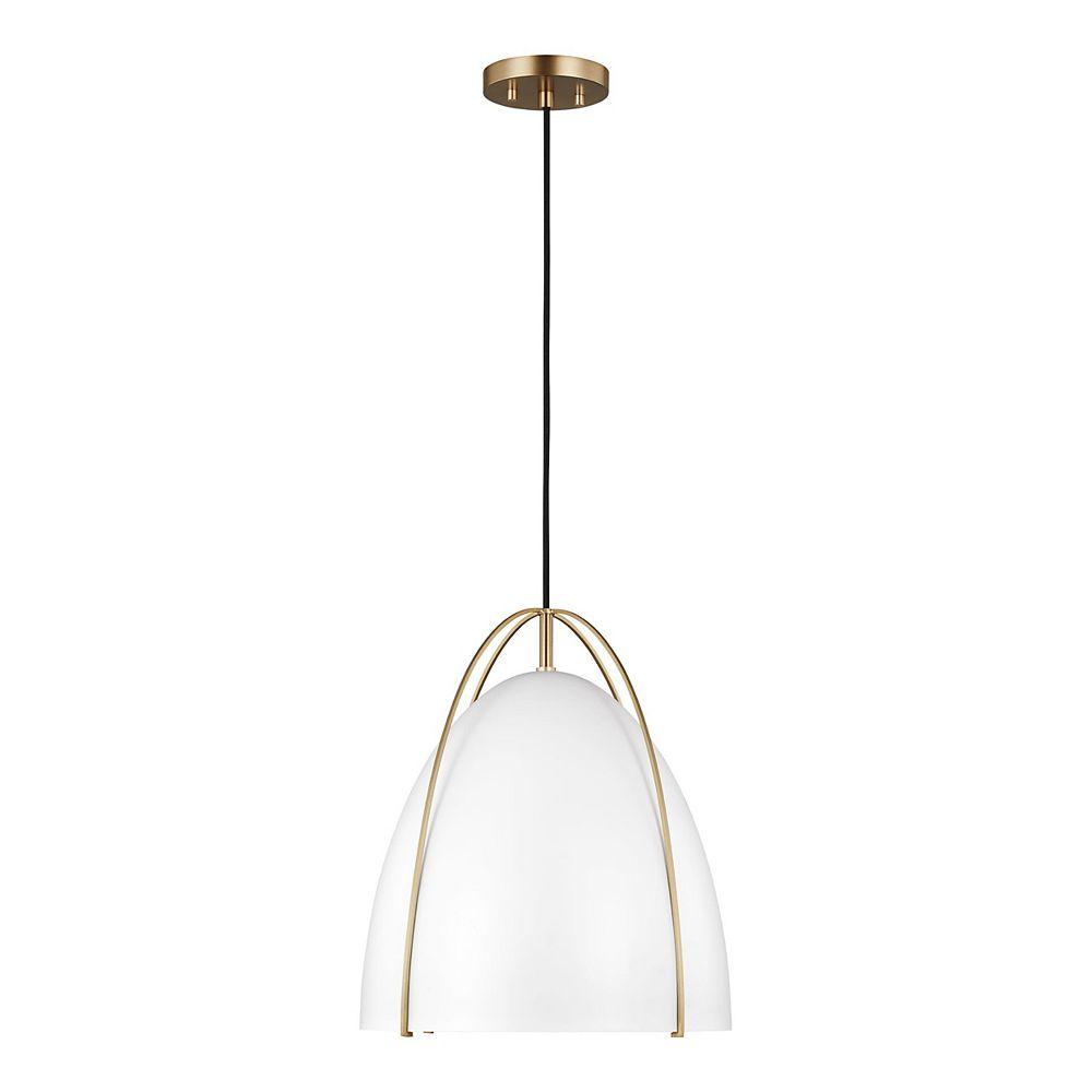 Sea Gull Lighting Norman  Luminaire suspendu à 1 ampoule 75 W, laiton satiné avec abat-jour blanc