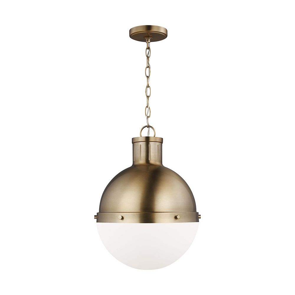 Sea Gull Lighting Hanks 75w 1-Light Satin Brass Medium Pendant with smooth white glass shade