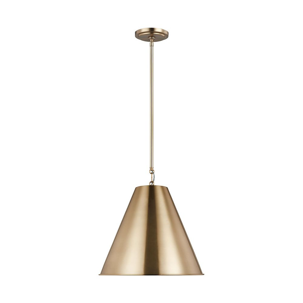 Sea Gull Lighting Gordon  Petit luminaire suspendu à 1 ampoule 75 W, laiton satiné, abat-jour en acier laiton satiné