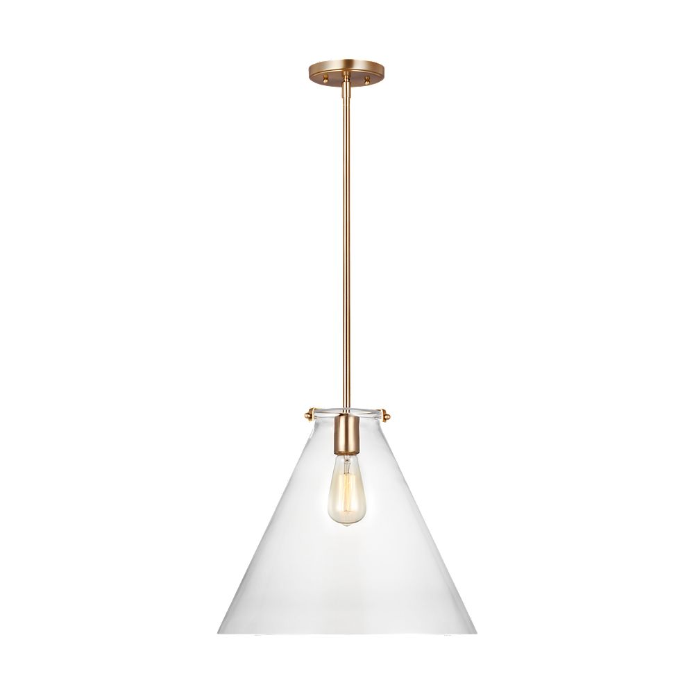 Sea Gull Lighting Kate 60w 1-Light Satin Brass Cone Pendant with clear glass shade