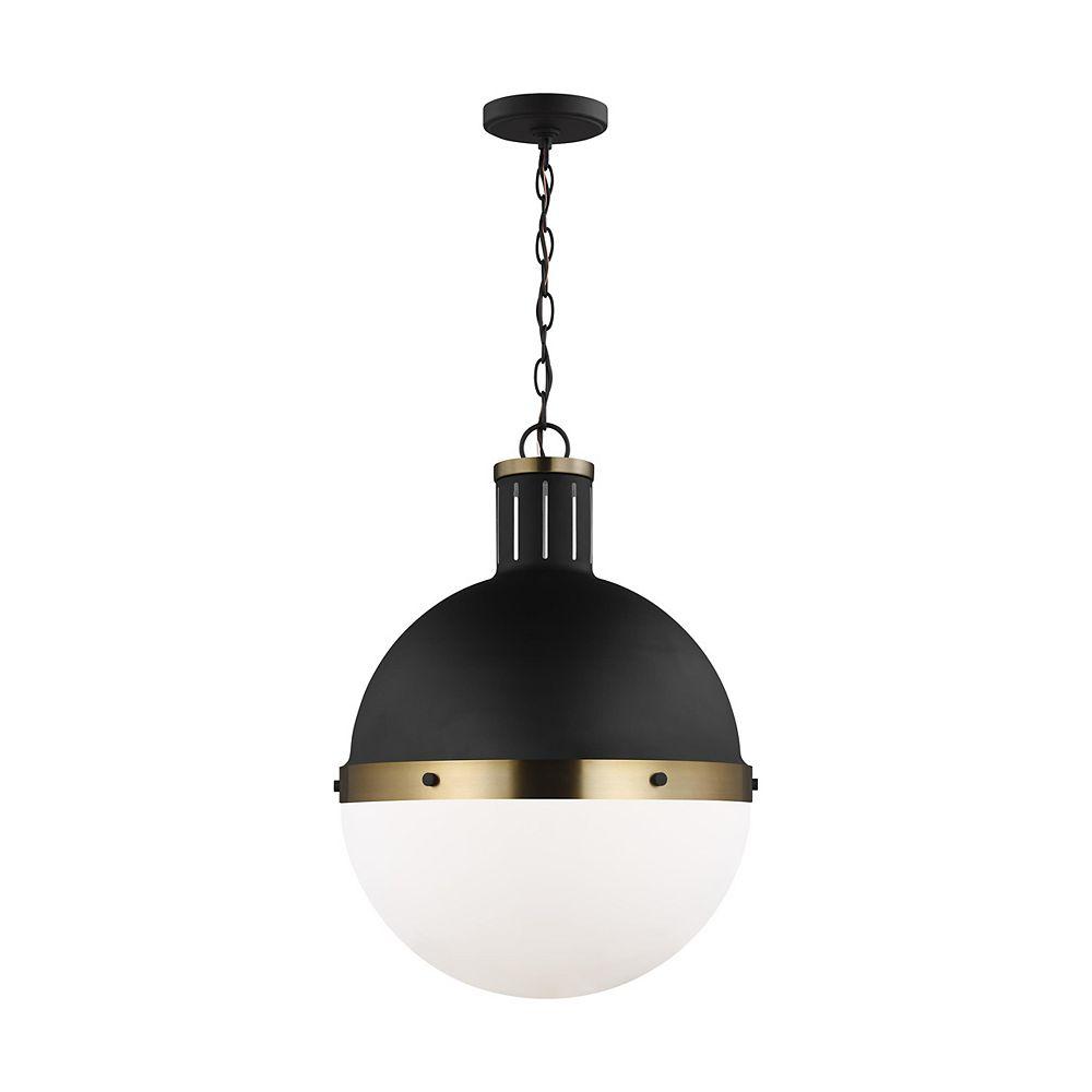 Sea Gull Lighting Hanks  Grand luminaire suspendu à 1 ampoule 75 W, noir profond avec abat-jour en verre blanc