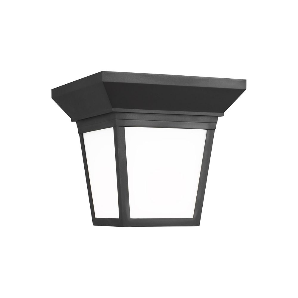 Sea Gull Lighting Lavon 60w 1-Light Black Outdoor Ceiling Flush Mount with smooth white glass panels