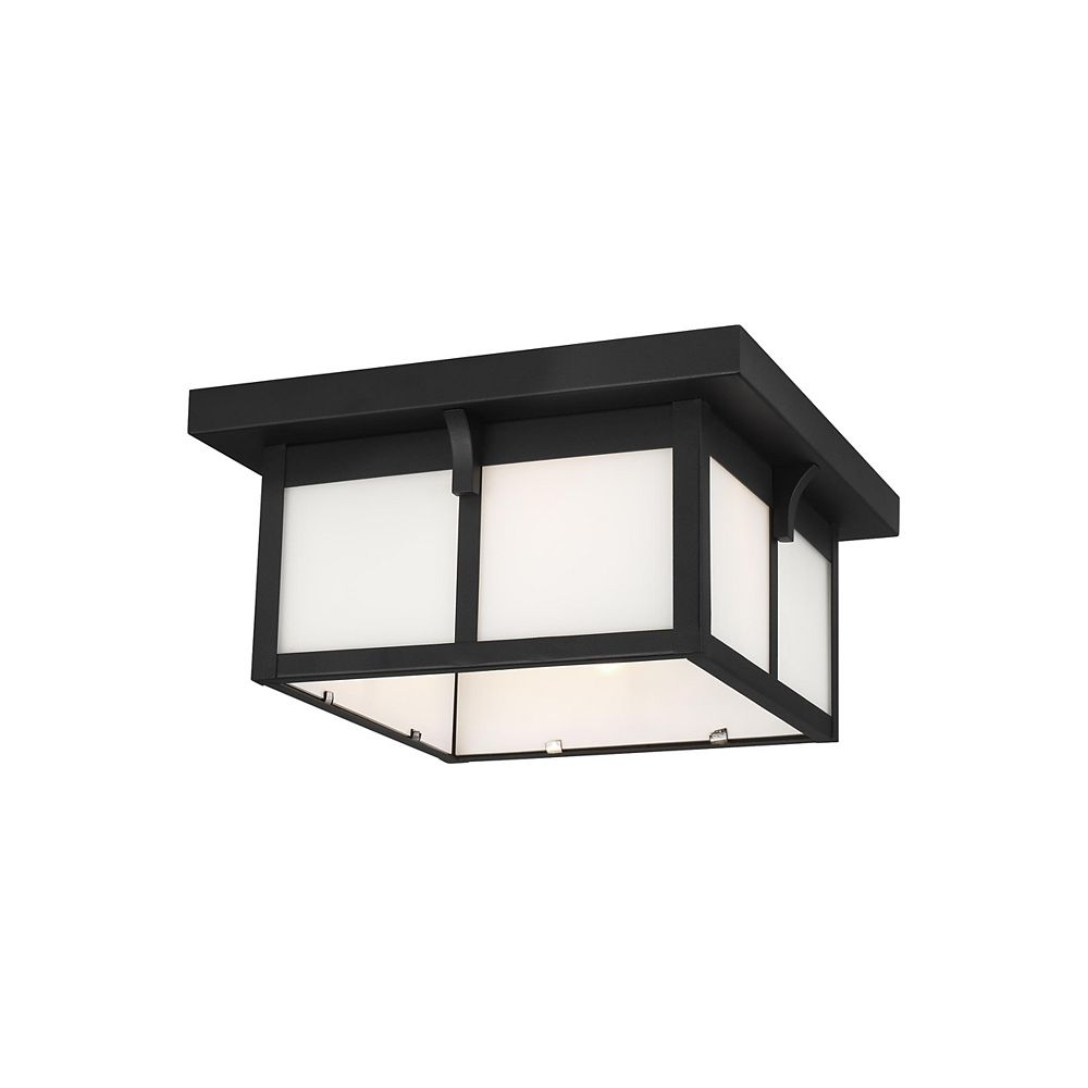 Sea Gull Lighting Tomek 60w 2-Light Black Outdoor Flush Mount with etched / white inside glass panels