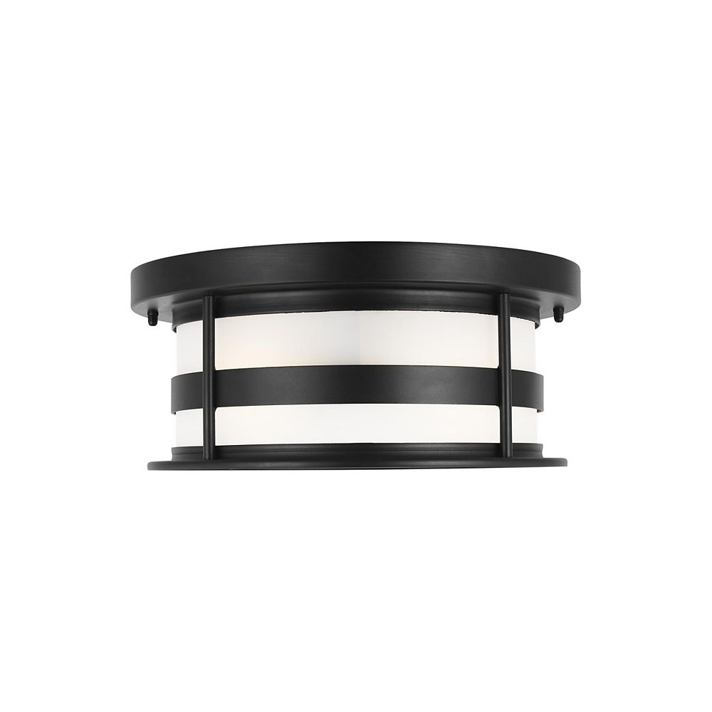 Sea Gull Lighting Wilburn 40w 2-Light Black Outdoor Flush Mount with satin etched glass shade