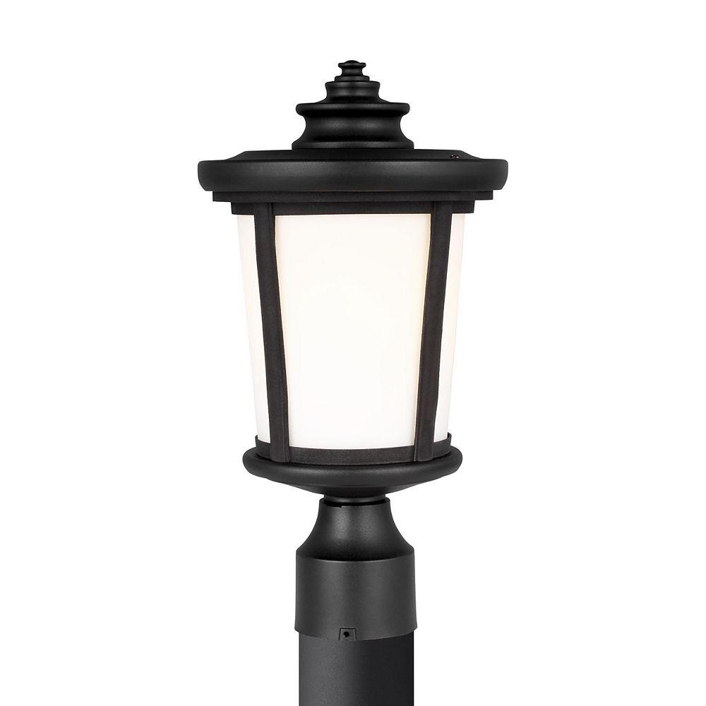 Sea Gull Lighting Eddington  Lanterne de poteau extérieur à 1 ampoule 60 W, noir avec panneau en verre opale gravé