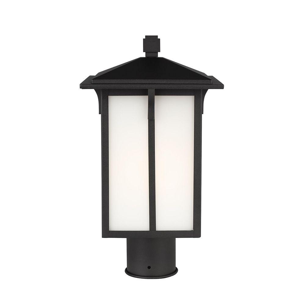 Sea Gull Lighting Tomek  Lanterne de poteau ext. à 1 ampoule 75 W, noir avec panneaux en verre gravé/blanc