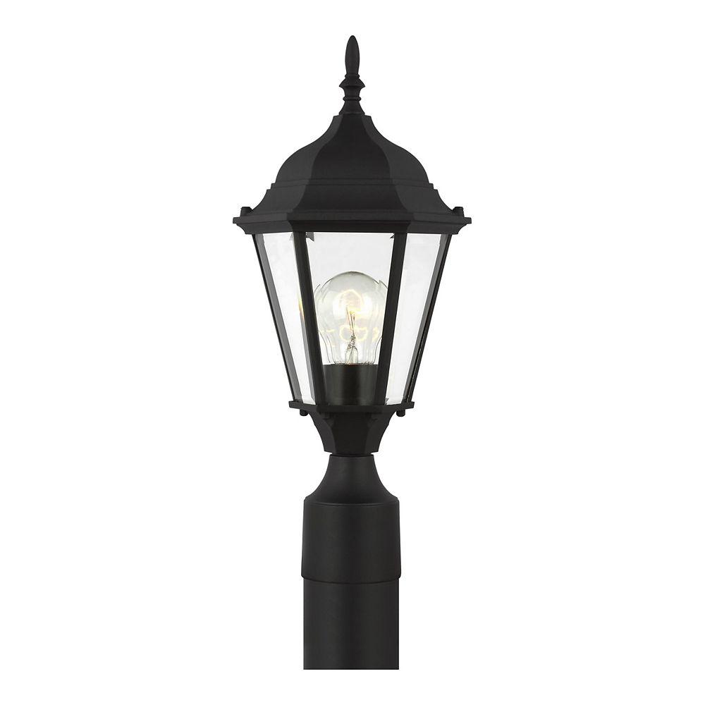 Sea Gull Lighting Bakersville 100w 1-Light Black Outdoor Post Lantern with clear beveled glass panels