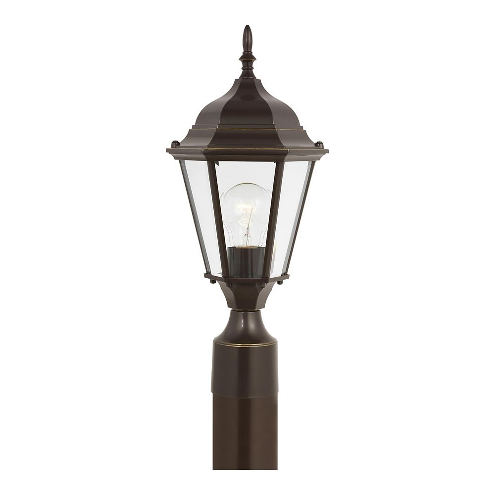 Sea Gull Lighting Bakersville 100w 1-Light Heirloom Bronze Outdoor Post Lantern with satin etched glass panels