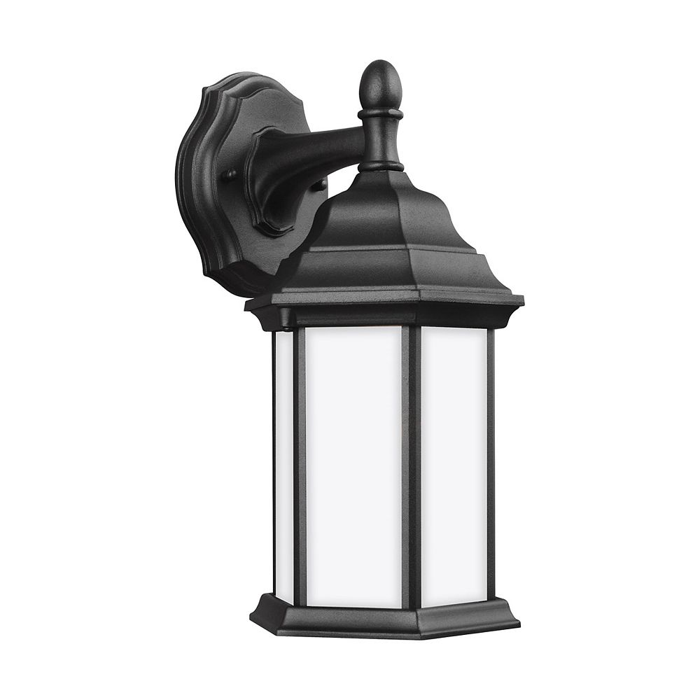 Sea Gull Lighting Sevier 100w 1-Light Black Small Downlight Outdoor Wall Lantern with satin etched glass panels