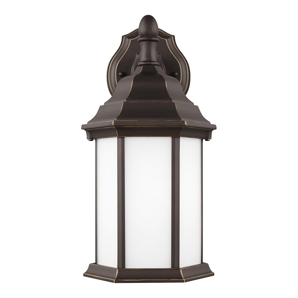 Sea Gull Lighting Sevier 100w 1-Light Antique Bronze Small Downlight Outdoor Wall Lantern with etched glass panels