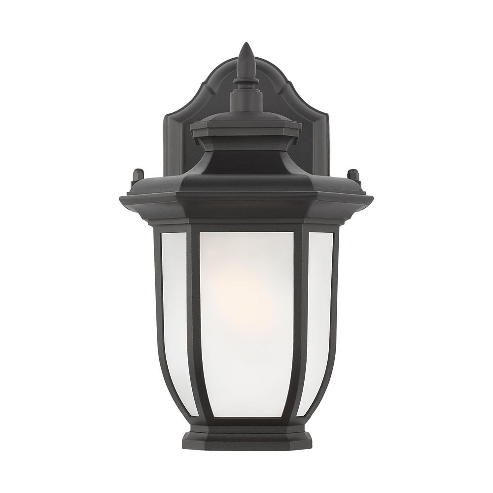 Sea Gull Lighting Childress 40w 1-Light Black Extra Small Outdoor Wall Lantern with satin etched glass shade
