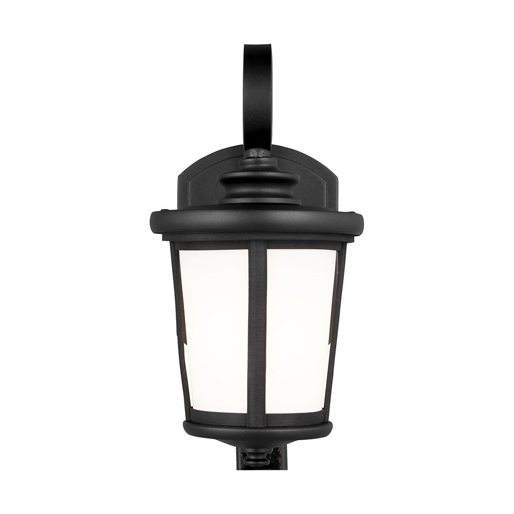 Sea Gull Lighting Eddington 60w 1-Light Black Small Outdoor Wall Lantern with cased opal etched glass panel