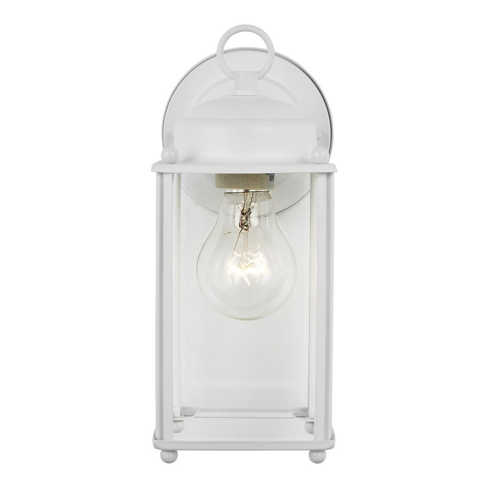 Sea Gull Lighting New Castle 75w 1-Light White Large Outdoor Wall Lantern with clear glass panels