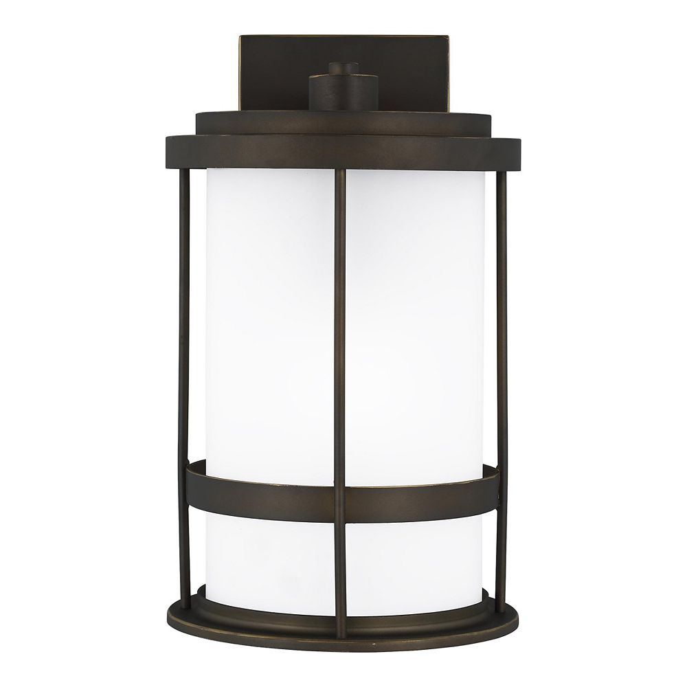 Sea Gull Lighting Wilburn 60w 1-Light Antique Bronze Medium Outdoor Wall Lantern with etched glass shade