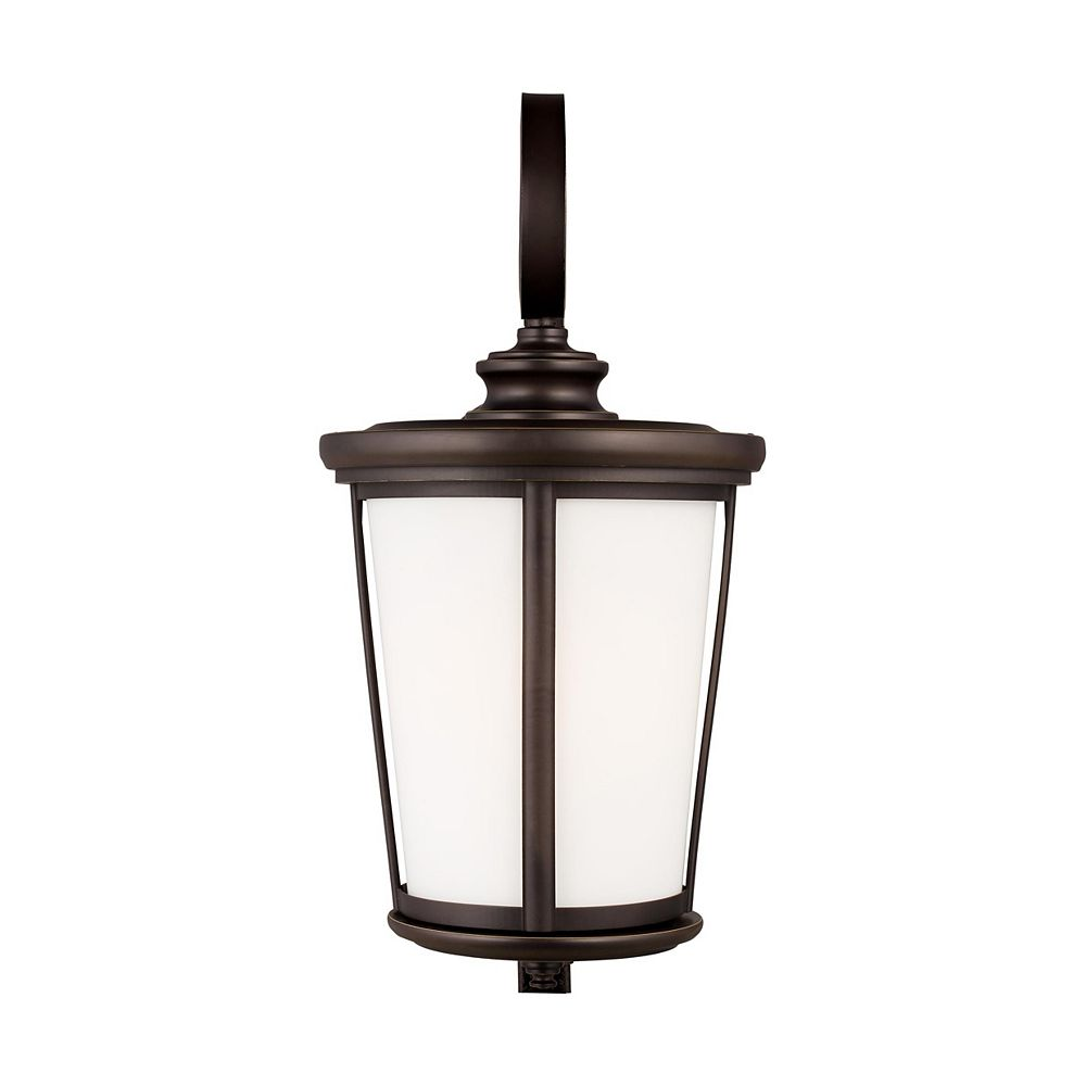 Sea Gull Lighting Eddington 75w 1-Light Antique Bronze Extra Large Outdoor Wall Lantern with etched glass panel