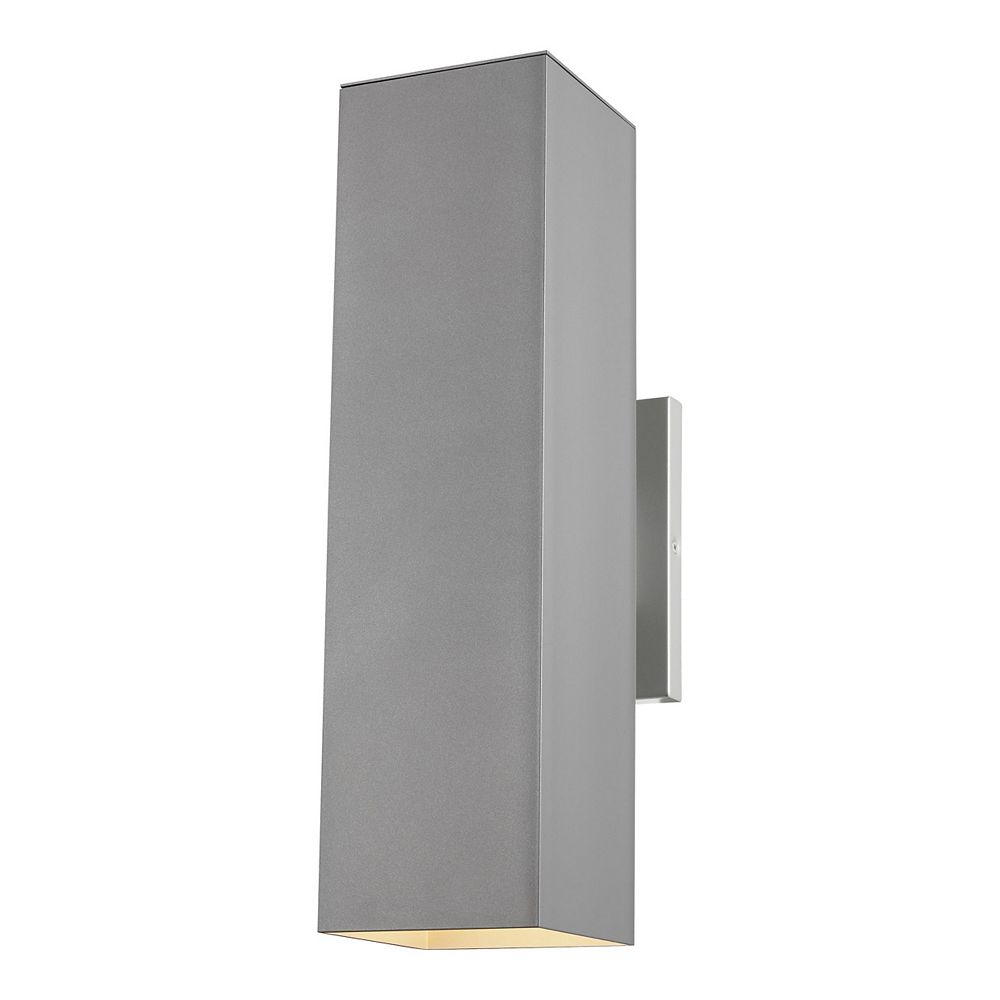 Sea Gull Lighting Pohl 65w 2-Light Painted Brushed Nickel Large Outdoor Wall Lantern with brushed nickel panel