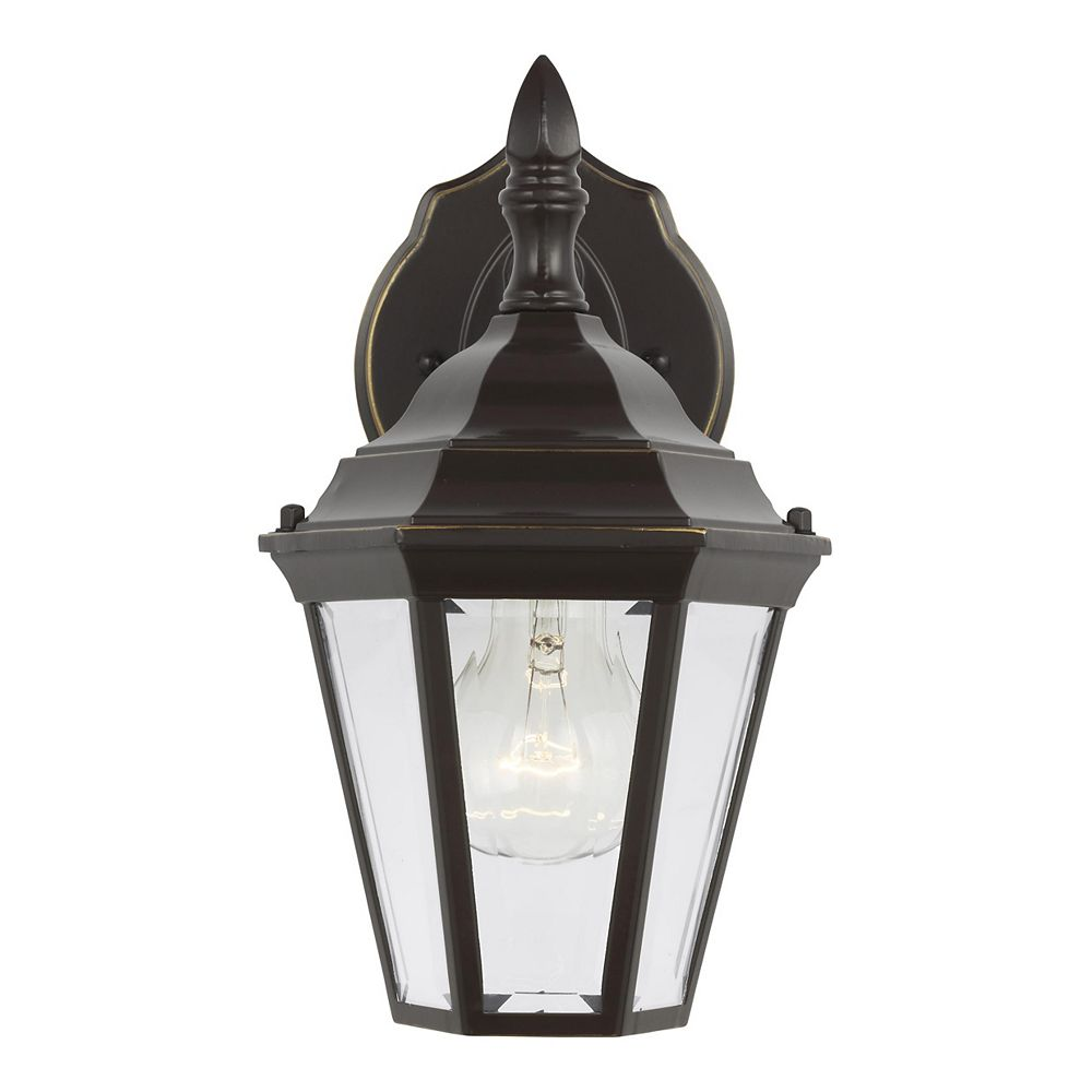 Sea Gull Lighting Bakersville 100w 1-Light Heirloom Bronze Small Outdoor Wall Lantern with clear beveled glass panels