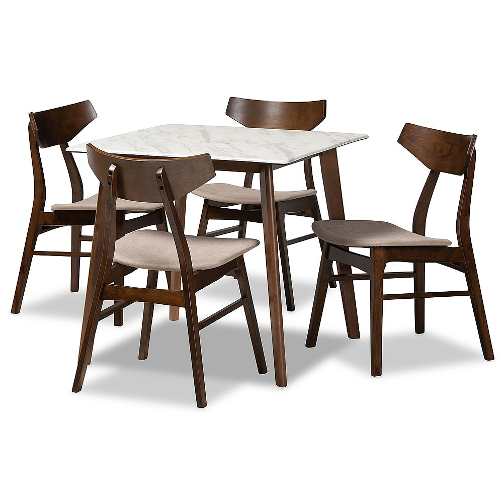 Baxton Studio Pearson 5-Piece Dining Set in Light Beige and Walnut Brown and Marble
