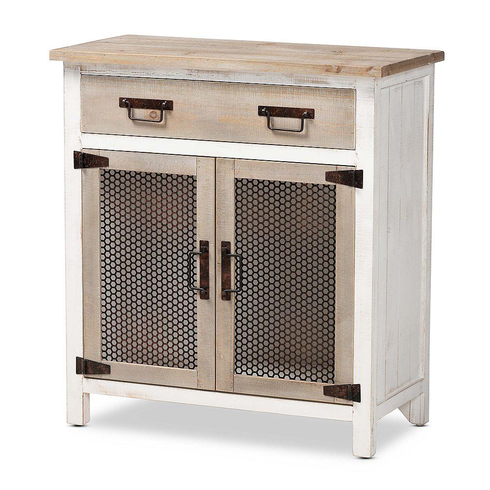 Baxton Studio Deacon Storage Cabinet in White and Oak Brown