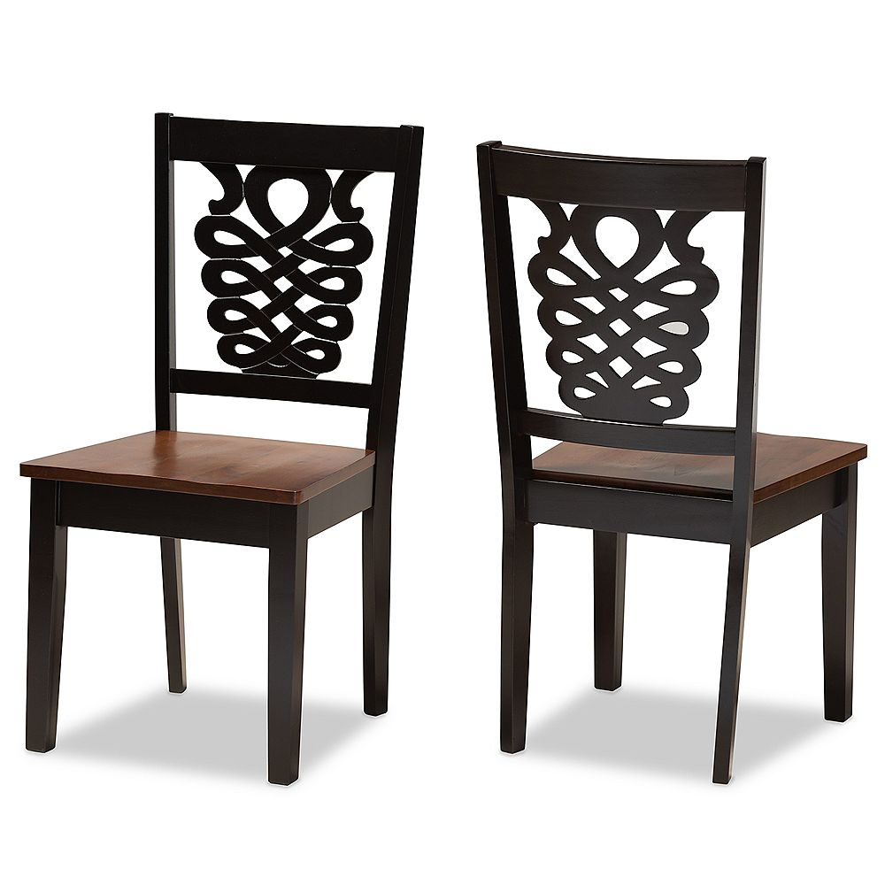 Baxton Studio Gervais Dining Chair in Dark Brown and Walnut Brown (2-Pack)