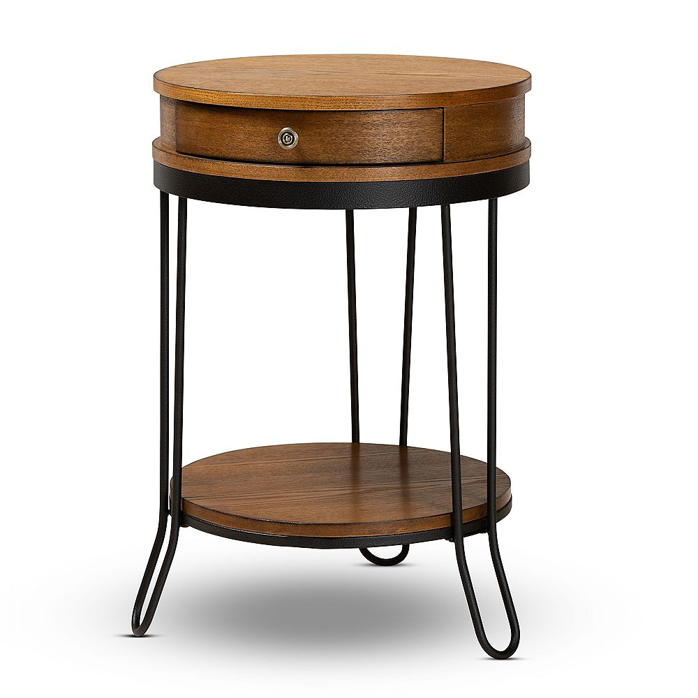 Baxton Studio Roald End Table in Walnut and Black