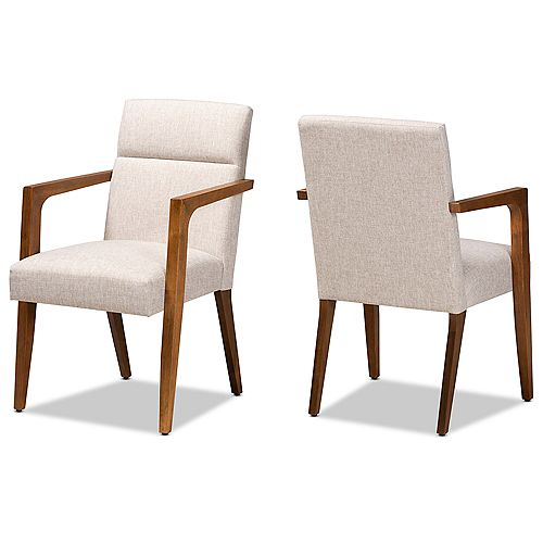 Andrea Fabric Arm Chair in Beige and Walnut (2-Pack)