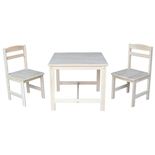 3 PC Set- Unfinished Kids Table and Chair Set
