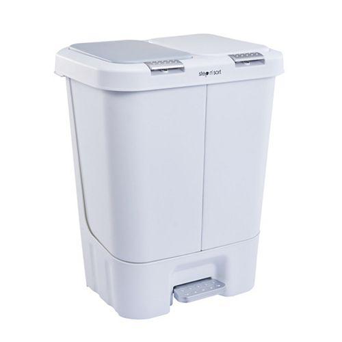 La poubelle double et poubelle de recyclage Step N 'Sort 40L , blanc