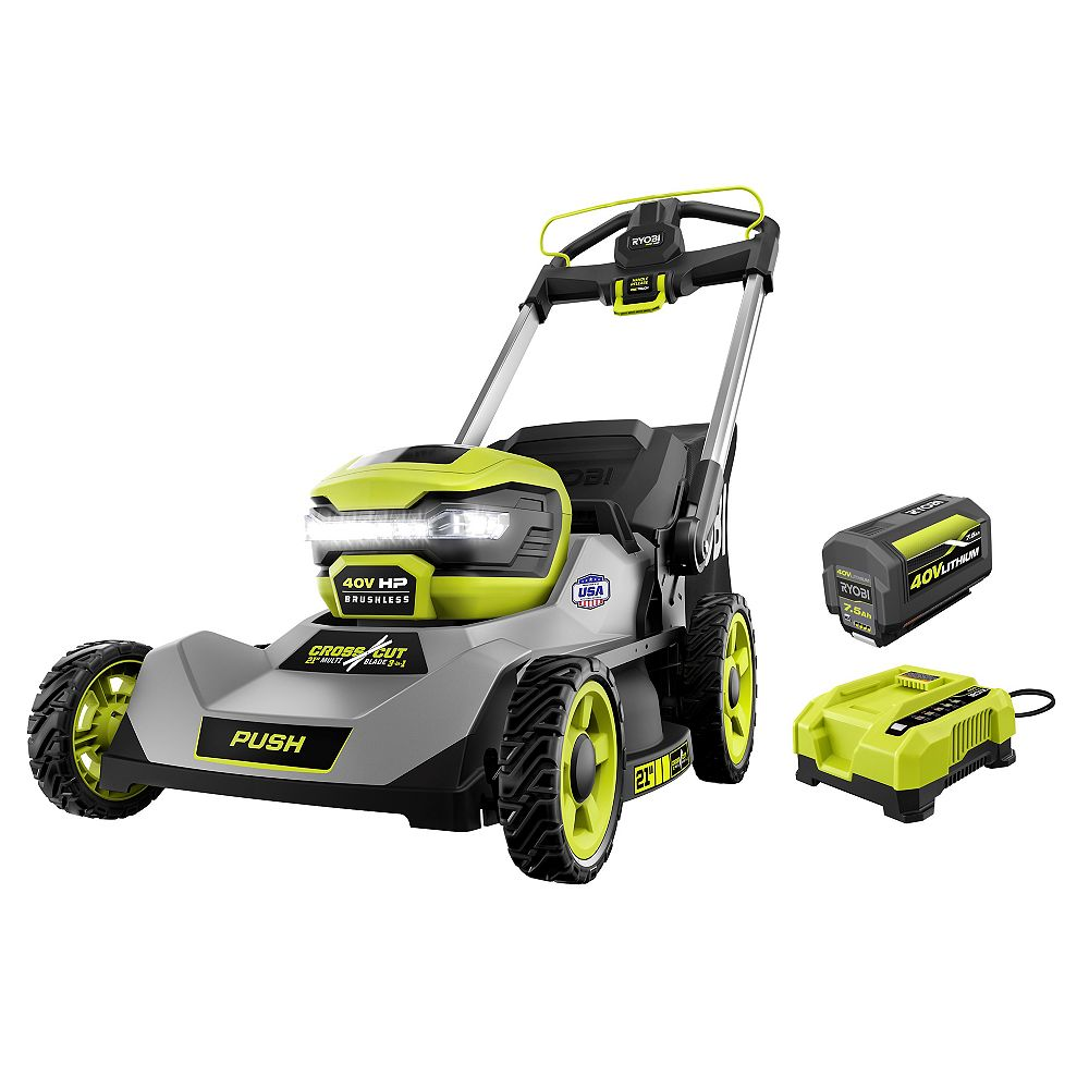 RYOBI 40V HP Brushless 21-inch Walk-Behind Dual-Blade Lawn Mower Kit with 7.5 Ah Battery and Charger
