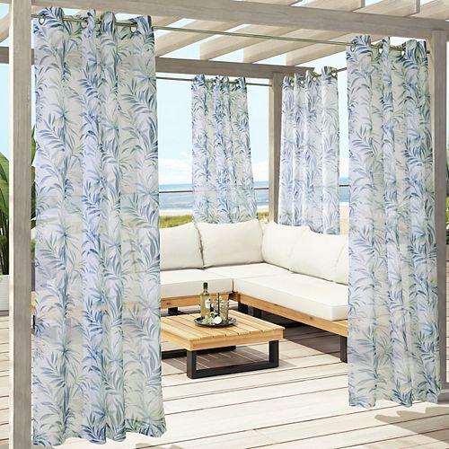Rideau d'extérieur à oeillets Mistral transparent - largeur 137 cm x longueur 213 cm, Bleu