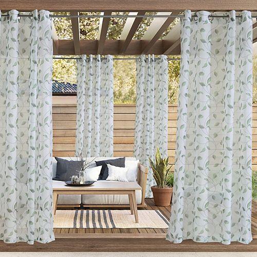 Rideau d'extérieur à oeillets Sirocco transparent - largeur 137 cm x longueur 213 cm, Vert