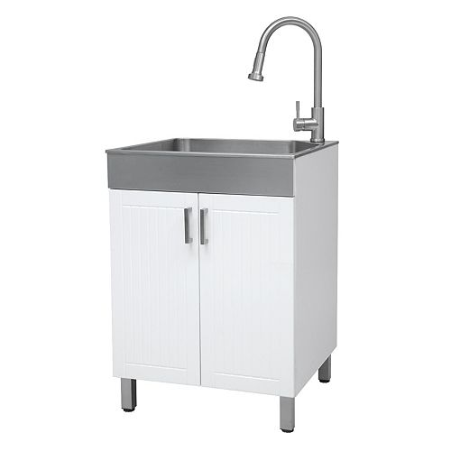 All-In-One 24 inch RTA Laundry Cabinet with Stainless Steel Sink and Faucet