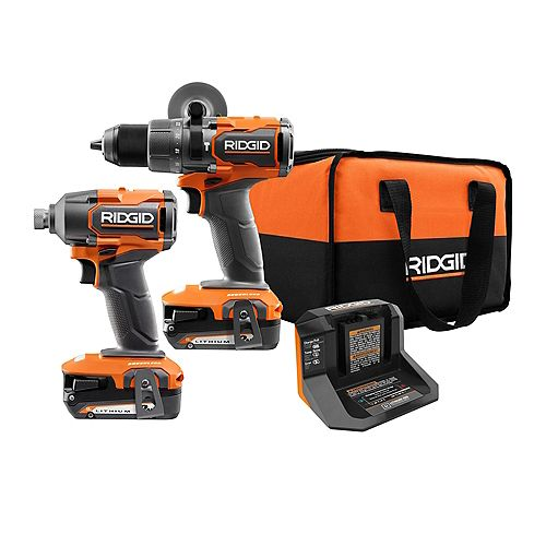 18V Brushless 1/2-inch Hammer Drill and 1/4 -inch Impact Driver Kit (2) 2.0 Ah Batteries and Charger