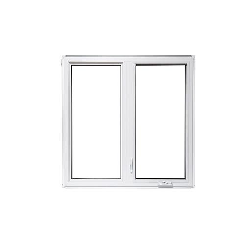 Fenêtre à battant blanche de 60 po x 60 po fixe à gauche avec technologie Vertex3 et Energy Star