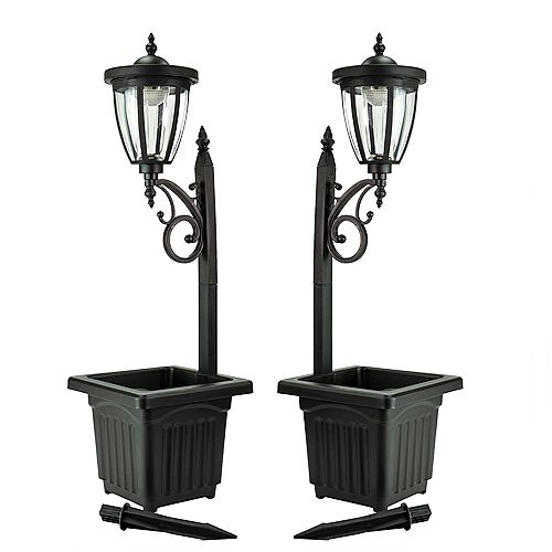 Kambria Multi Function Solar Lamp Post and Planter, Wall Mount, Stake Light/Two Pack - Black