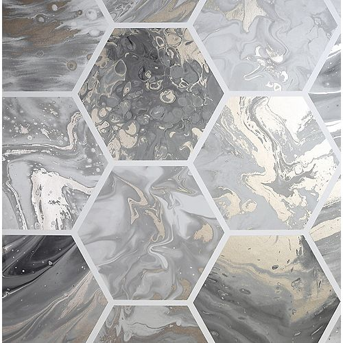 Marbled Hex Charcoal and Rose Gold Wallpaper