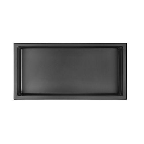 akuaplus Bath Shower Niche - 12-inch x 24-inch, Stainless Steel - Matt Black