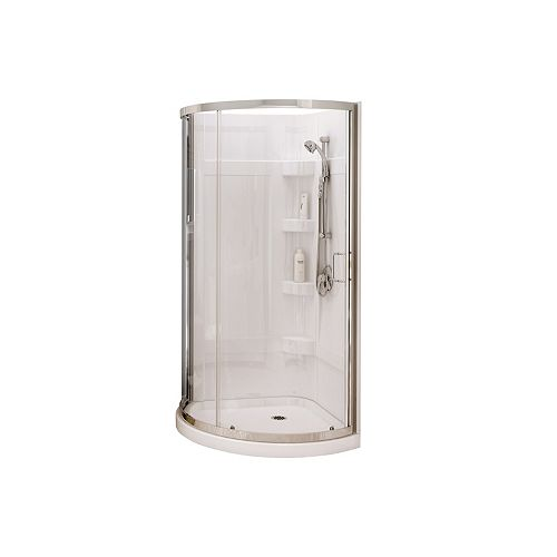 Iris II 34Lx34Wx76H Round Acrylic Shower Kit Base, Wall & Reversible Shower Door with Clear Glass