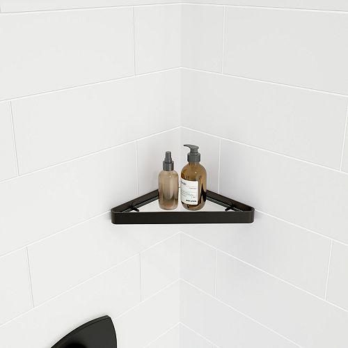 MAAX 9.6L x 9.6W Corner TriangularTemperred Glass and Metal Shelf in Matte Black