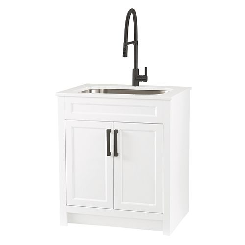 All in One 30-inch Laundry Cabinet with Marble Top, Stainless Sink and Black Faucet