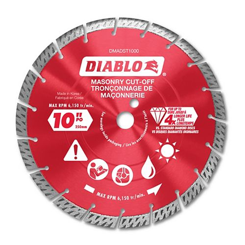 10 in. Diamond Segmented Turbo Cut-Off Discs for Masonry