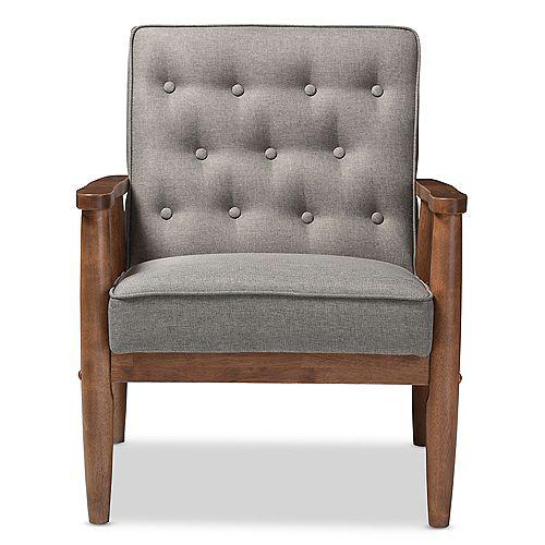 Retro Fabric Lounge Chair in Grey