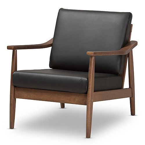 """Venza Faux Leather Lounge Chair in Black and """"Walnut"""" Brown"""