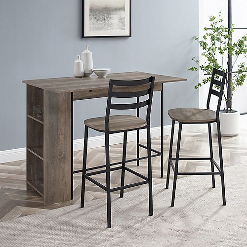 3-Piece Drop Leaf Counter Table Set - Grey Wash