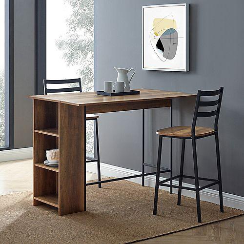 Ensemble de table haute à abattant 3 pièces - Bois de grange récupéré